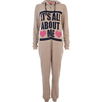 Brown it's all about me print Onesuit