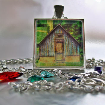 Pendant primitive barn 1x1 necklace wearable by twistedpixelstudio