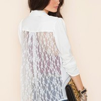 Lace Back Blazer - Ivory in Clothes Outerwear at Nasty Gal