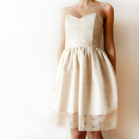 Ivory Dream  Beige Ivory White Lace Dress and Cotton by WhimsyTime