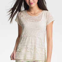 Painted Threads Mix Media Burnout Top (Juniors) | Nordstrom