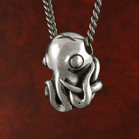 Octopus Necklace Antique Silver Octopus Pendant on 24&quot; Gunmetal Chain - Octopus Jewelry