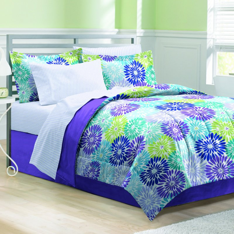 Space living bayberry purple bed in a bag from - Green and purple comforter ...