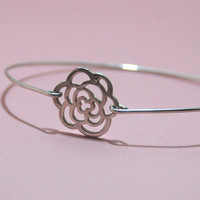 Rose Silver  Sterling Silver Bangle Bracelet by SevimsDesign