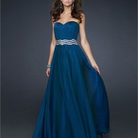 Gorgeous A-line Strapless Sweetheart with Beaded Waistband Floor Length Chiffon Prom Dress