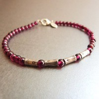 Red Garnet Bracelet with Handmade Sterling Silver Beads, Delicate