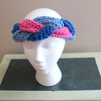 Womens Fashion Hairband, Braided Headband, Earwarmer Headband, Pink Blue Headband, Turban Twist Headband, Yoga Hairband, Ski Headband