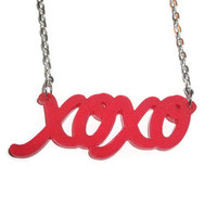 xoxo Necklace, Frosted Red Laser Cut Pendant, Hugs and Kisses