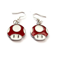 Mario Mushroom Earrings, Red Enamel mushroom charm earrings
