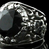 Royalty Co 925 Sterling Silver Skull & Fleur De Lis Royal Dark Ring