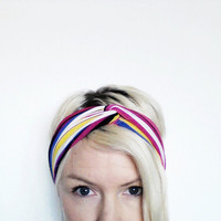 The Twist Turban Headband In Pink Multi by SevenWhiteRabbits