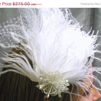 ON SALE White Feathered Veil Fascinator with by thejeweledcrown
