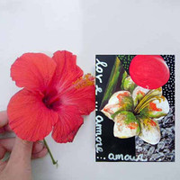 The flower of love  Original artwork  ACEO Collage  by Borettoart