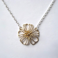 Flower Necklace Brass Flower Sterling Silver Chain by juliegarland
