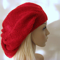 Red Baggy Beanie Hat by fairstore on Etsy