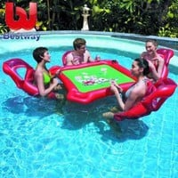 Amazon.com: Texas Hold'em Inflatable Pool Poker Set w/ Card Table, floating lounge Chairs & Poker Set (Quantity 1): Patio, Lawn & Garden