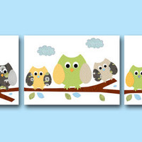 "Baby Nursery Decor Art for Children Kids Wall Art Baby Room Decor Baby Boy Nursery print set of 3 8"" x 10"" blue owls decoration green"