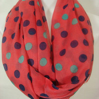 Polka Salmon Dot Viscose 2013 Spring Summer Scarf...Grand Opening Sale....Everything 9.99USD