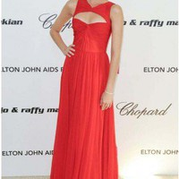 Odette Yustman Hot Red Chiffon Evening Formal Dress 2011 Oscars  - TheCelebrityDresses
