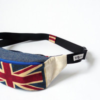 Hip bag for cyclists, hikers, runners travelers and practical people by BartekDesign - denim jeans blue red british uk