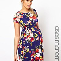 ASOS Maternity Skater Dress In Floral Print at asos.com
