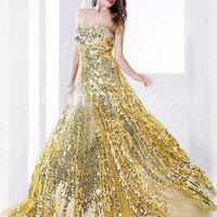 Sheath/Column Strapless Floor-length Sequined Evening Dress - US$ 178.19