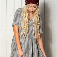 Vintage Plaid Mini Shift Grunge Tea Dress from Onceuponatime