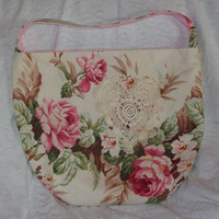Large Hobo Bucket Bag Pink Roses Barkcloth by SadiesSnippets