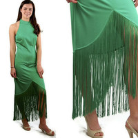 1970s Lilli Diamond gown, green formal gown, fringed dress, red carpet dress, dress with shawl, rocker dress, size M