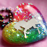Unicorn Jewelry, Rainbow Unicorn Necklace, Rainbow Heart Sparkly Modern Glitter Pendant with Rainbow Bright Colorful Chain by isewcute