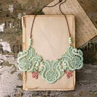 lace bib necklace - KALLISTO - mint and blush pink bib necklace - statement necklace