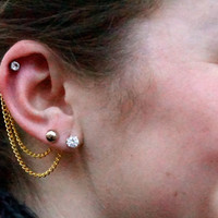 Double Lobe / Cartilage Ear Chain - Gold