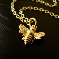 Honeybee Pendant Necklace on Gold Vermeil and Gold by Popsicledrum