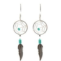 Dream Catcher Turquoise and Sterling Very Small Tiny Delicate Silver Hook Earrings
