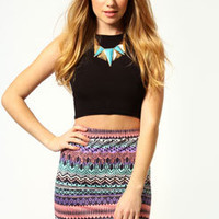 Olivia Aztec Print Bodycon Mini Skirt