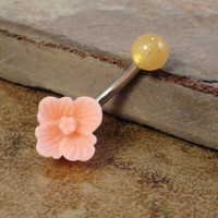 Peach Buttercup Flower Belly Button Ring Jewelry