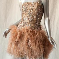 GIORGIO VINTAGE*GOLD SEQUIN*Ostrich Feather Mini Dress Cockail RED CARPET Gown