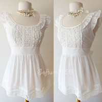 White Cotton Vtg Lace Yoke Ruffle Cap Slv Semi-sheer CUTE Summer Blouse Top - S
