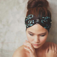 Chic Chain, Turban Twist Headband - turquoise black graphic print