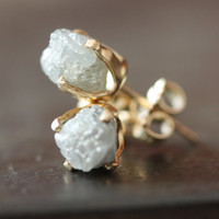 Rough Diamond Stud Earrings in 14kt Gold as seen in by LexLuxe