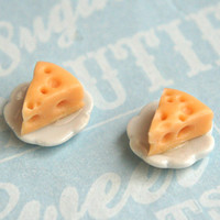 cheese slices stud earrings