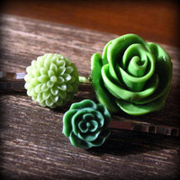 Green Tone Flower Bobby Trio by prettypleasempls on Etsy