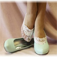 FTL4 White lace footlet wvenise applique