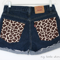 SALE  High Waisted Giraffe Print Pocket by MyLittleShortShop