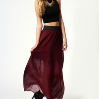 Karrie Gathered waistband chiffon maxi skirt