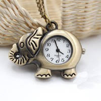 Retro lucky elephant sweater chain pocket watch necklace gift 113