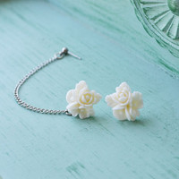 Ivory Bouquet Single Silver Chain Cartilage Earring (Pair)