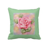 Pink Rose Throw Pillow from Zazzle.com
