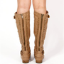 Camel Studded Zipper Boots