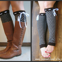 $26.00 Chevron Weave  BROWN Chevron Legwarmer w/ Ivory by GraceandLaceCo